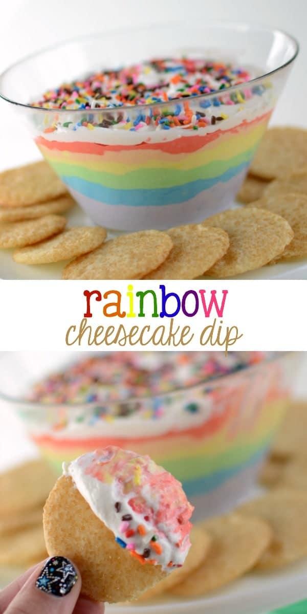 Rainbow Cheesecake Dip collage photo