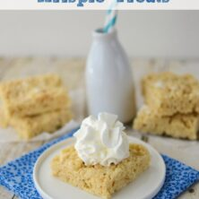 banana cream pie rice krispie treat on white plate with blue napkin and milk bottle behind with words on photo