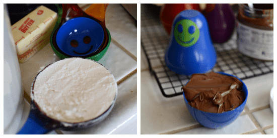 Collage of photos showing Kizmos Cups on kitchen counter filled with ingredients