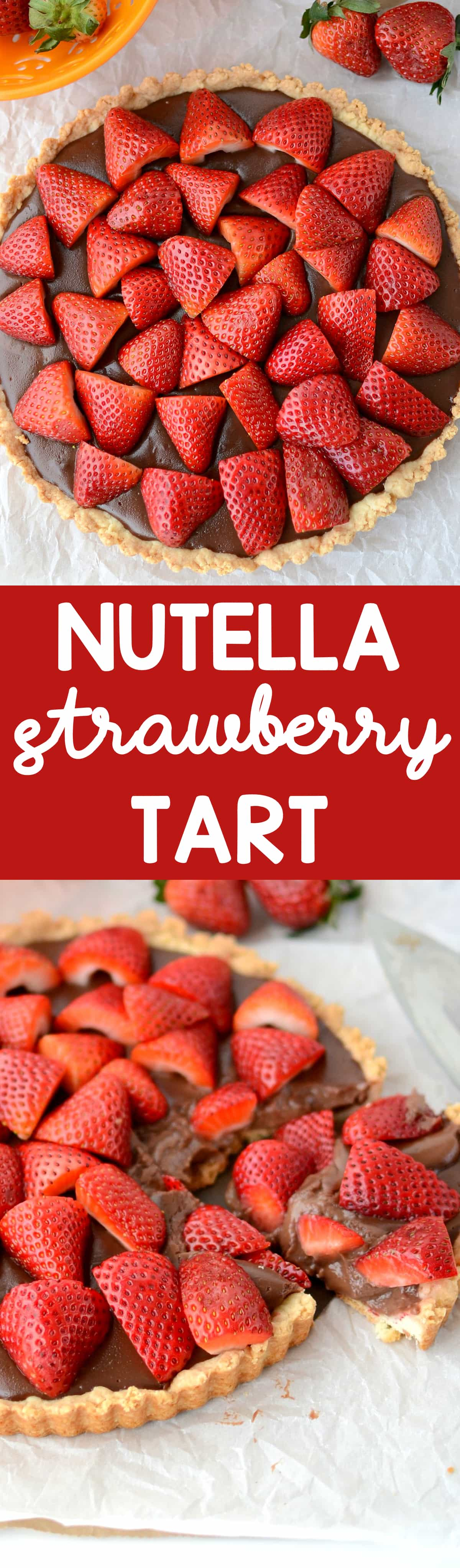 Nutella Strawberry Tart - this easy tart recipe has a pastry crust and is full of homemade Nutella pudding and garnished with fresh strawberries. It's the perfect easy showstopper recipe!