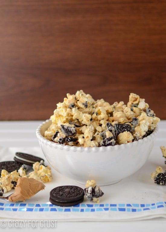 oreo peanut butter popcorn in white bowl