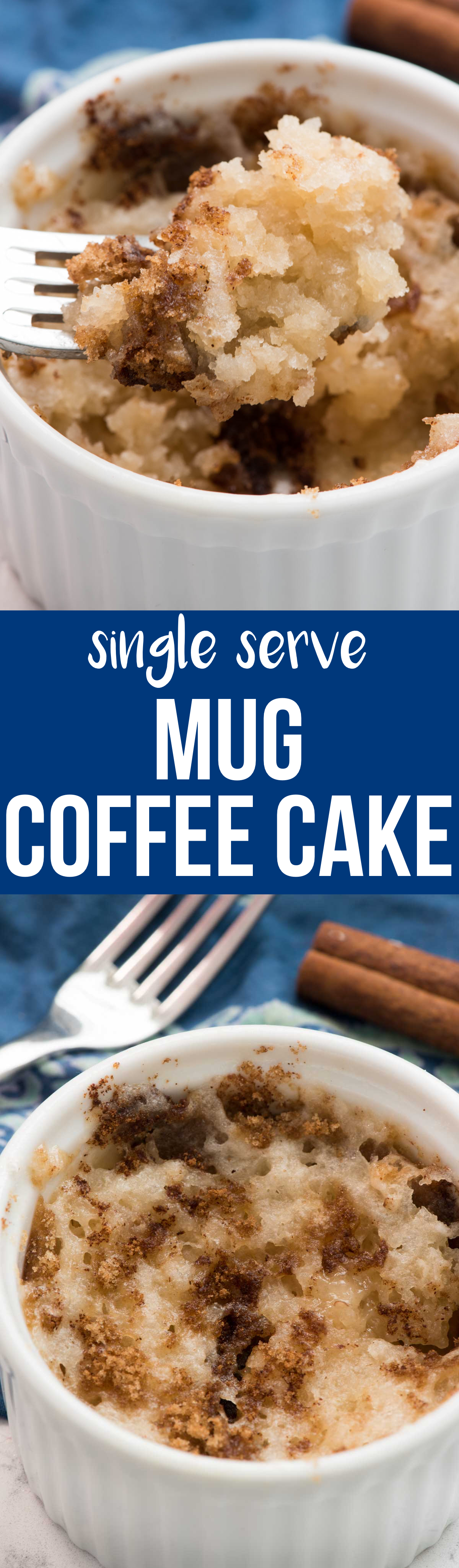 This Mug Coffee Cake recipe is a single serving of coffee cake for when you are craving a sweet breakfast! It stirs together quickly and cooks in 45 seconds and is the perfect small batch recipe for when you want a sweet treat.
