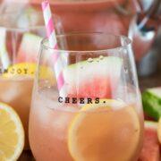 watermelon lemonade margarita in glass