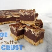 chocolate fudge with a peanut butter swirl and crust with words on photo