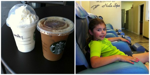 Mommy and daughter date photo collage of starbucks drinks and pedicures