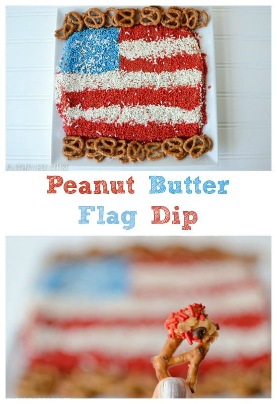peanut butter dip made to look like a flag with red white and blue sprinkles and pretzels around it on white background collage of 2 photos with words