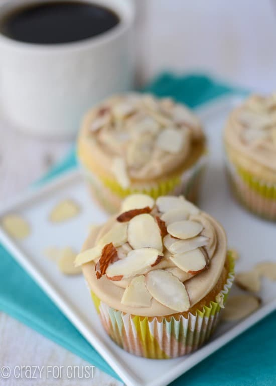 Almond Cupcakes with Caramel frosting by crazyforcrust.com
