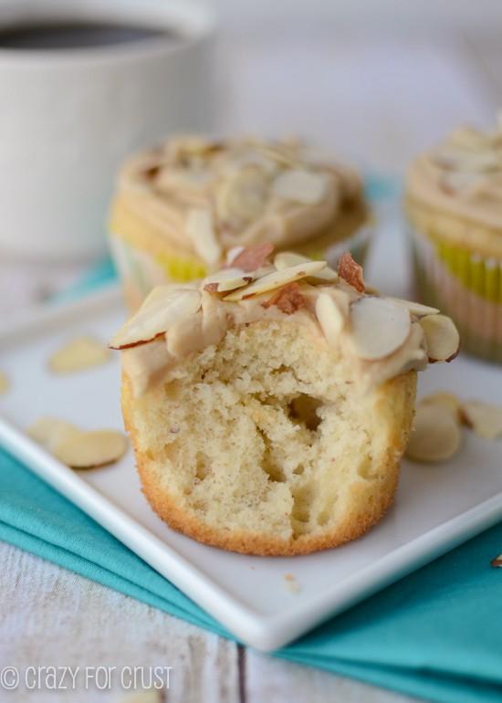 Almond Cupcakes with Caramel frosting by www.crazyforcrust.com