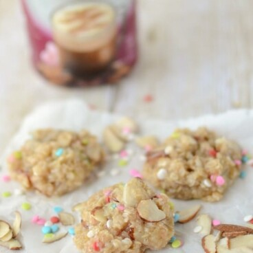 no bake cookies with sprinkles and coffee creamer bottle behind