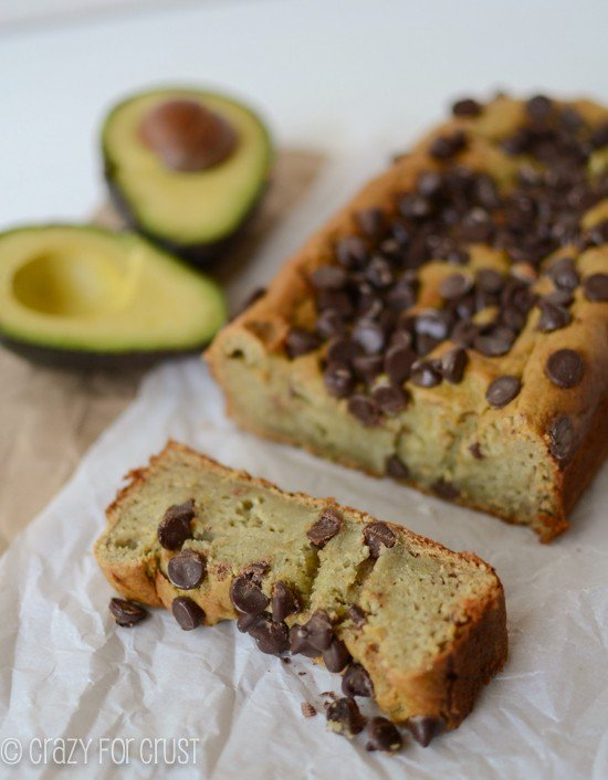 avocado banana bread sliced on parchment paper with avocado behind and words on photo
