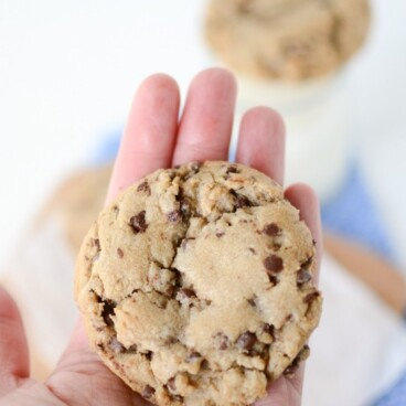 Bakery Style Chocolate Chip Cookies XL Browned butter cookies filled with chocolate chips on hand