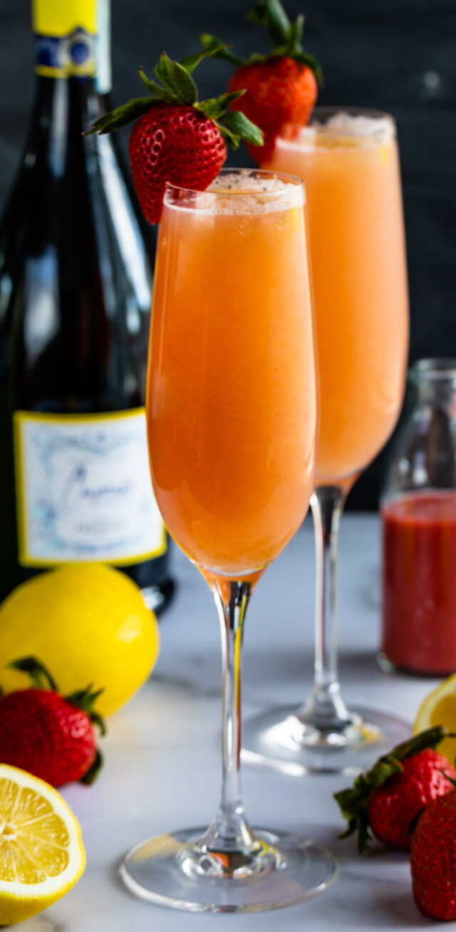 lemon strawberry mimosas in flutes