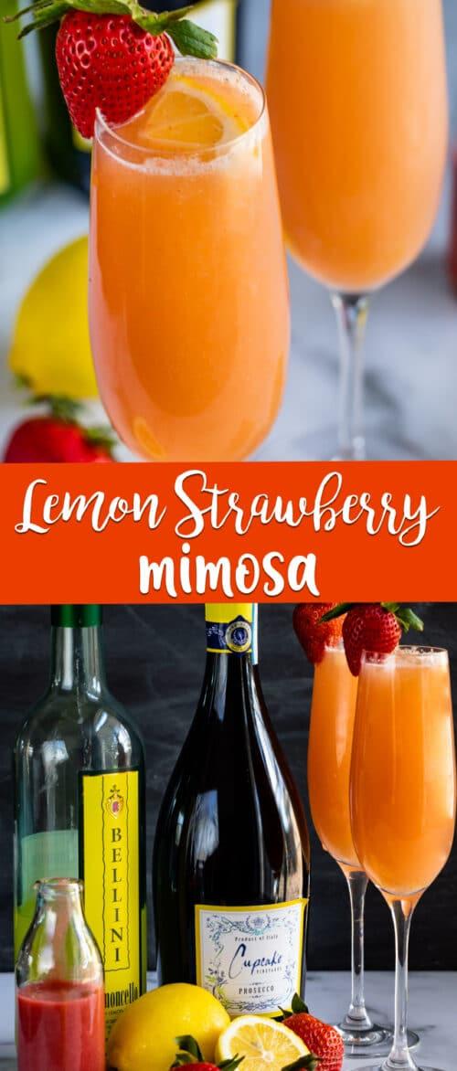 collage of lemon strawberry mimosa photos