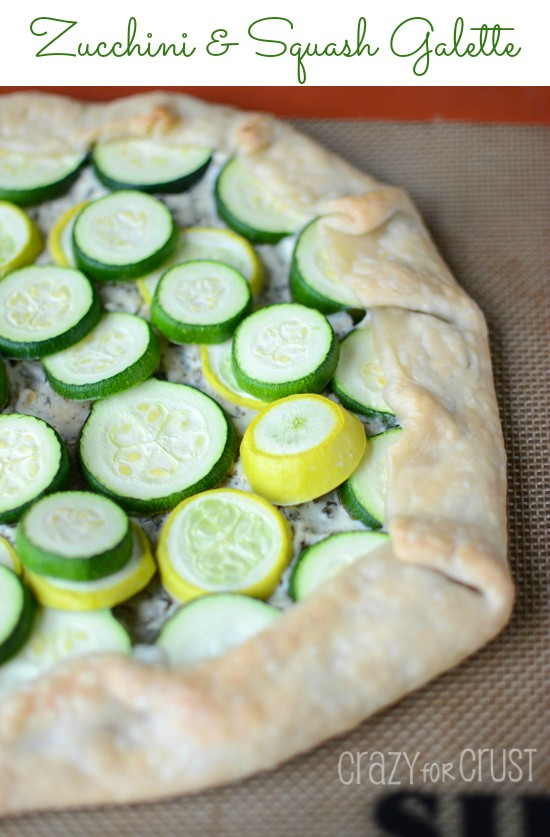 Zucchini and Squash Galette on cookie sheet