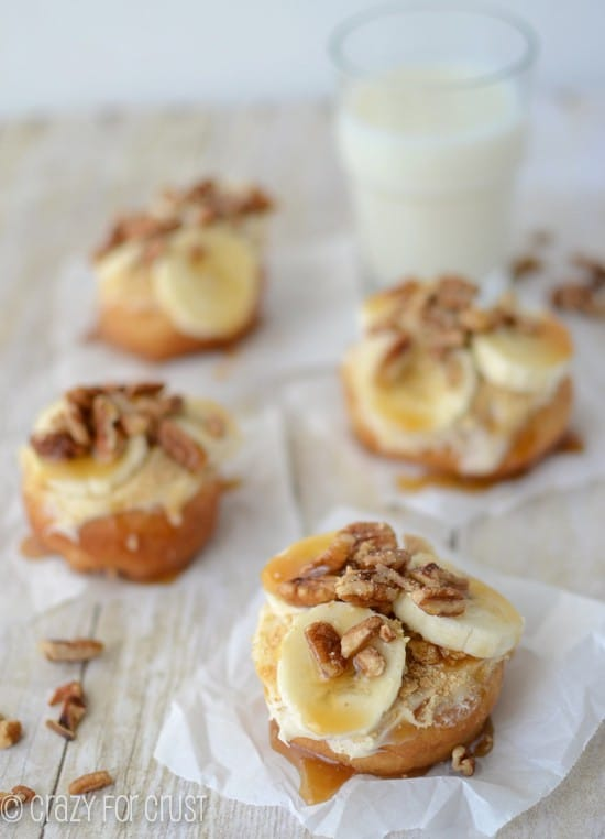 Banana Pecan Caramel Doughnuts by crazyforcrust.com | A copycat of the famous Gourdoughs Granny's Pie doughnut!