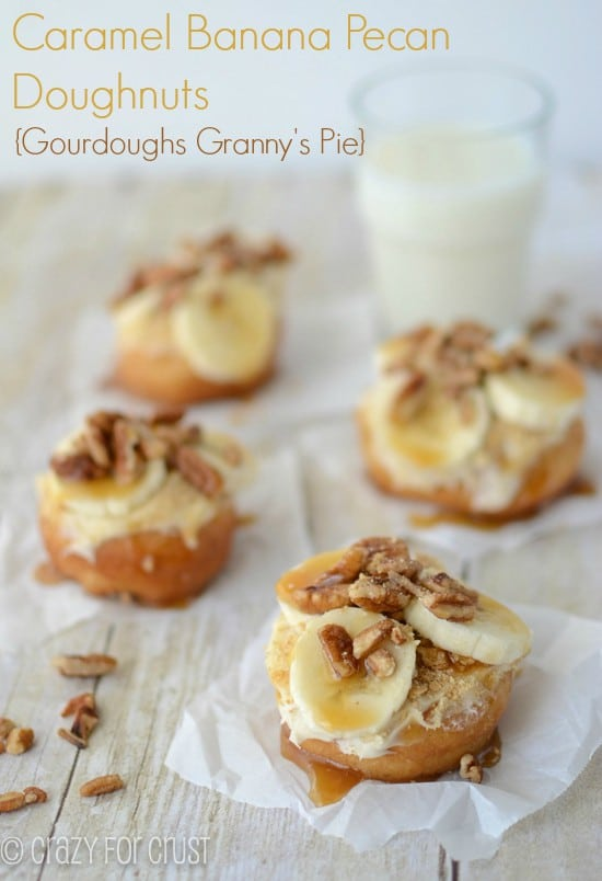 banana-caramel-pecan-doughnuts on parchment paper with title