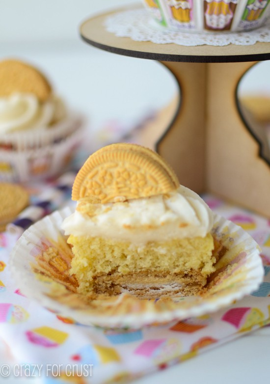 Banana Golden Oreo Cupcakes by crazyforcrust.com | Banana cake, Golden Oreo Crust, and Cream Cheese Frosting!
