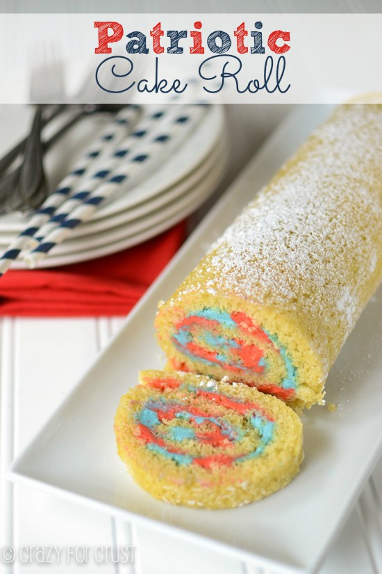 Patriotic Cake Roll by crazyforcrust.com | A fluffy vanilla cake filled with red and blue frosting!