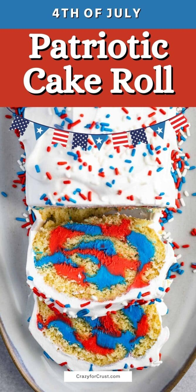 Overhead photo of patriotic cake roll with covered with red, white and blue spinkles
