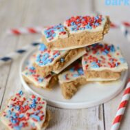 Patriotic Peanut Butter Cookie Dough Bark by crazyforcrust.com | A quick and easy red, white, and blue treat for the 4th!