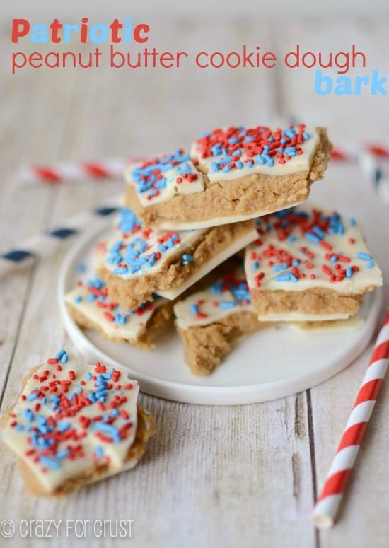Patriotic Peanut Butter Cookie Dough Bark by www.crazyforcrust.com | A quick and easy red, white, and blue treat for the 4th!