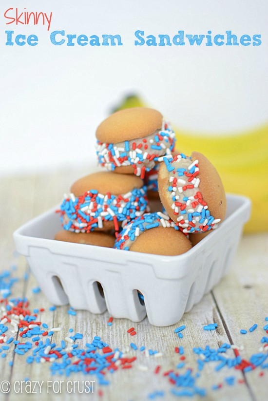 Skinny red, white and blue ice cream sandwiches