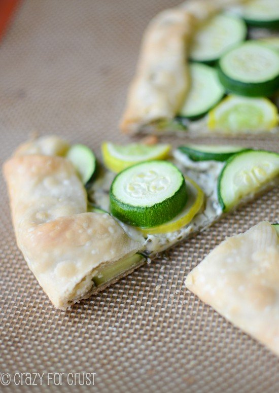 slice of pie tart with zucchini