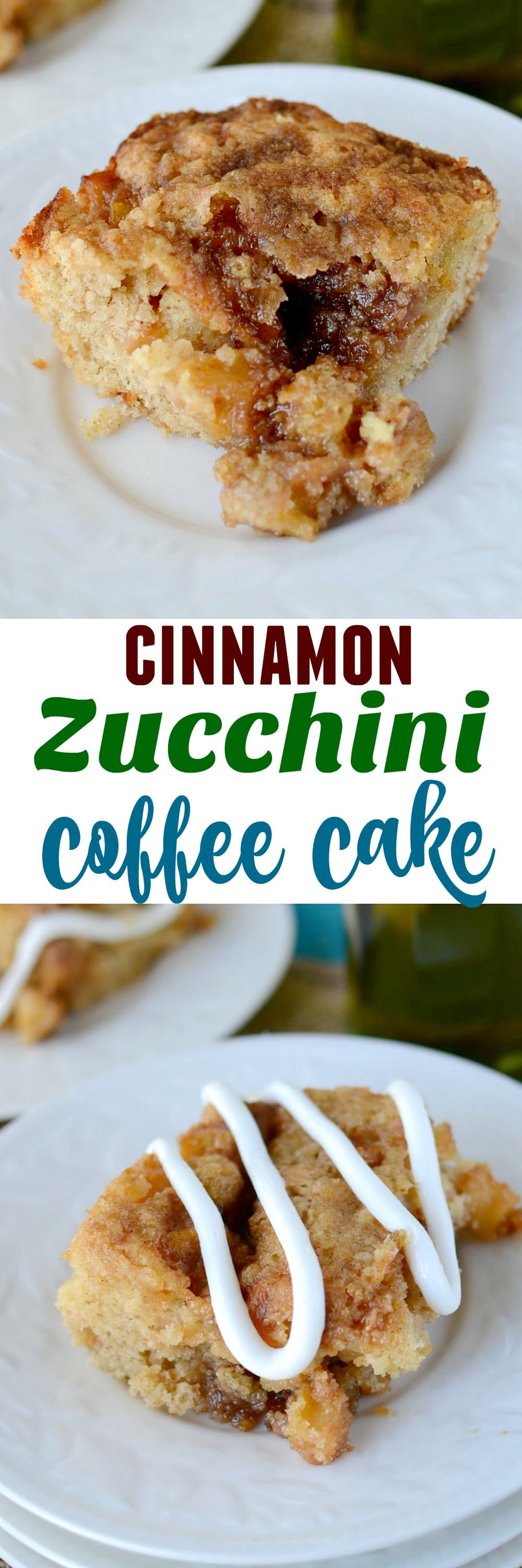 slice of cinnamon zucchini coffee cake on stack of white plates with olive oil bottle behind