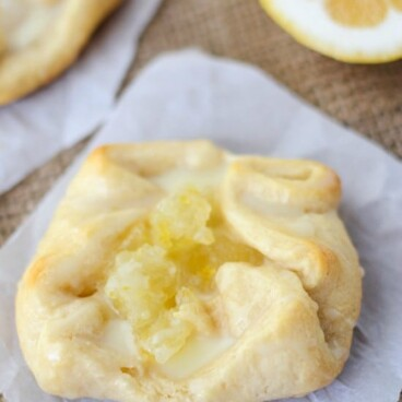 lemon cream danish on parchment paper
