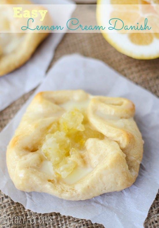 Easy-lemon-cream-danish on parchment paper with title