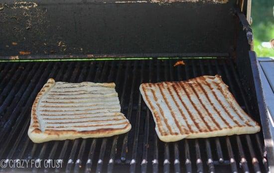 pizza dough on BBQ