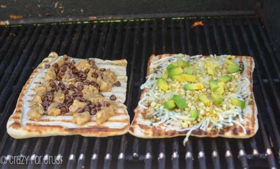 Grilled Pizza: Pesto, Avocado, and Corn and a Cookie Doug Pizza for Dessert! www.crazyforcrust.com #grilledpizza #pillsbury