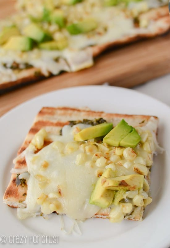 Pesto Corn and Avocado Pizza