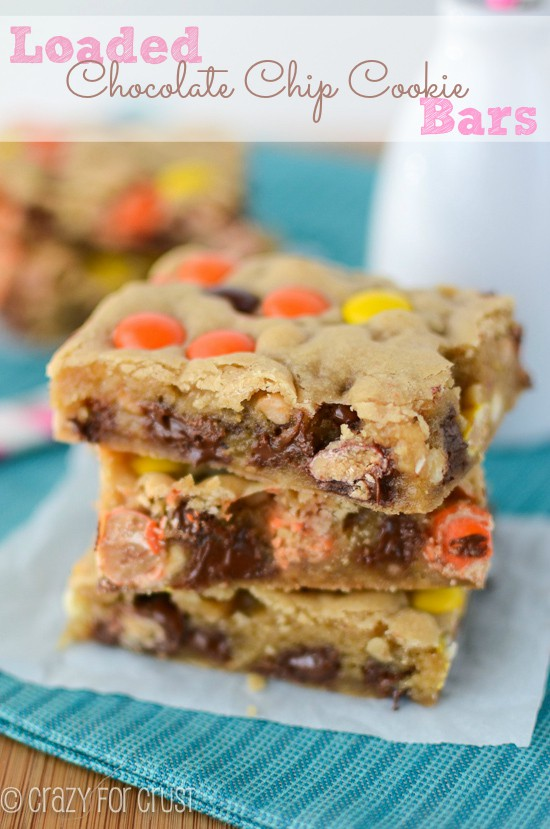 For what you have in your pantry: Loaded chocolate chip cookie bars