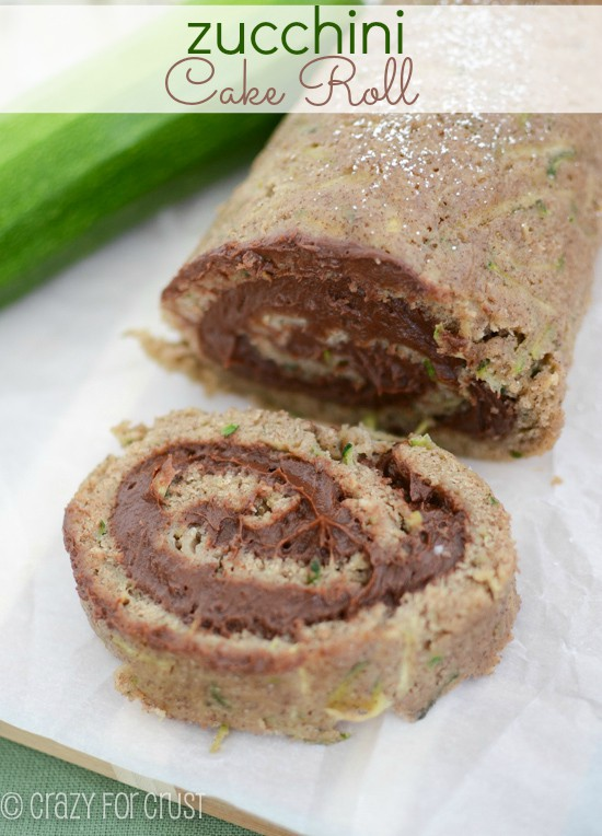 Zucchini Cake Roll with Chocolate Cream Cheese Filling
