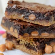stack of caramel brownie peanut butter cookie bars