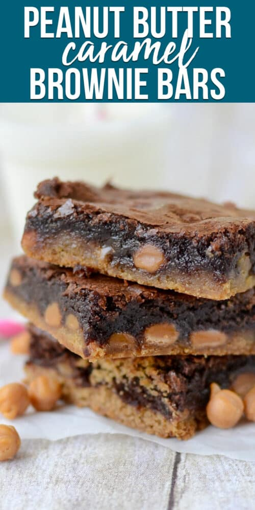 stack ofCaramel Brownie Peanut Butter Cookie Bars
