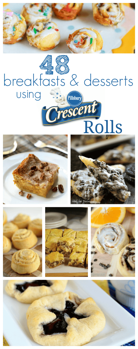 collage of 7 ideas for using crescent rolls with words