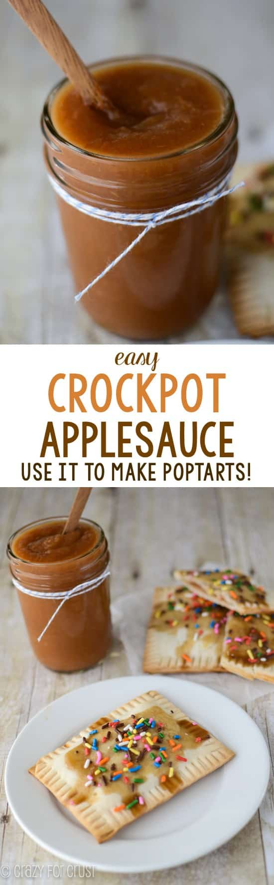 Easy Crockpot Applesauce - just 4 ingredients to the PERFECT applesauce everyone loves. It's great hot or cold, or put it in recipes like Homemade Poptarts!