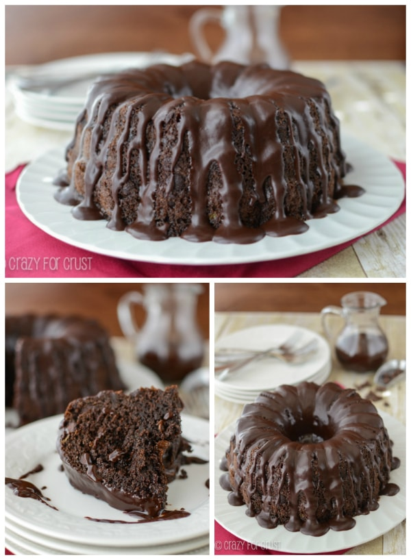 Easy Triple Chocolate Bundt Cake | crazyforcrust.com | #chocolate #cake #ganache