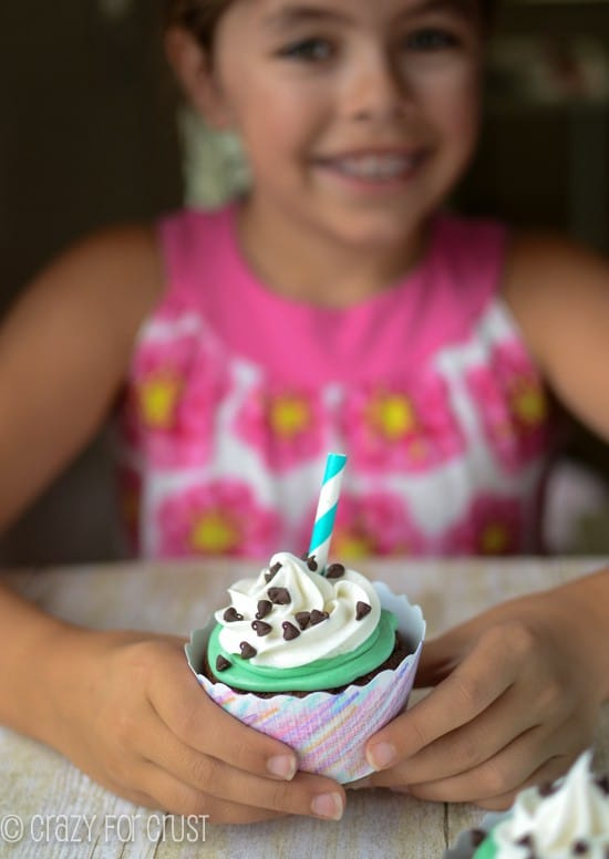 Mint Chip Milkshake Cupcakes | www.crazyforcrust.com | #cupcake #mint #chocolate