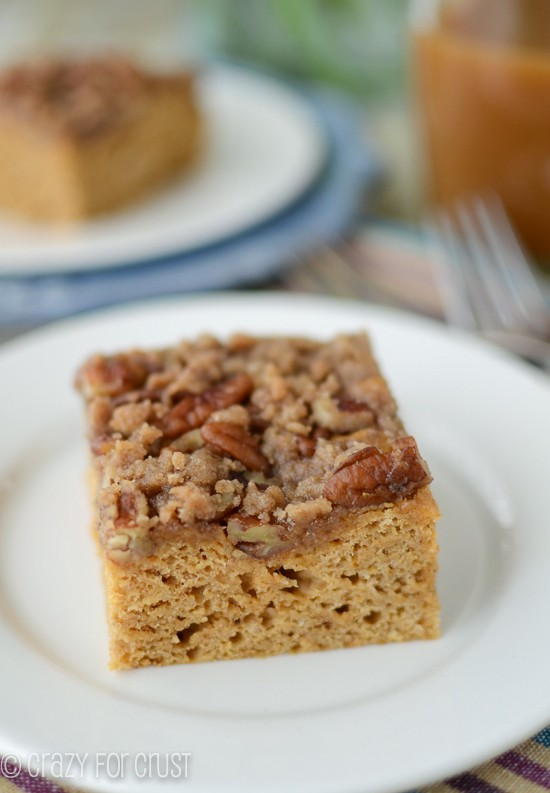 slice of pumpkin coffee cake on white plate