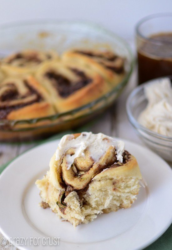 Zucchini Cinnamon Rolls by crazyforcrust.com | A fluffy cinnamon roll  filled with zucchini -