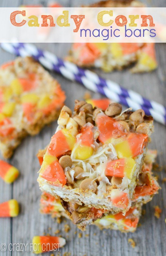 Candy Corn Magic Bars | crazyforcrust.com | #candycorn #magicbar #halloween