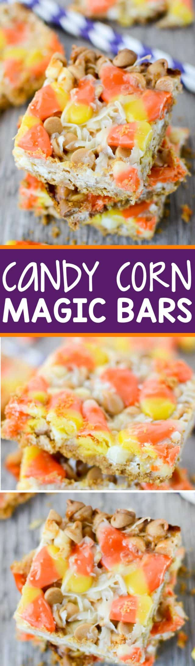 Candy Corn Magic Bars are PERFECT for Halloween! They have a graham cracker crust and are filled with white chocolate, peanut butter chips, and lots of candy corn!