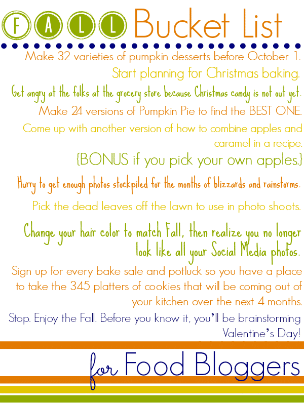Food Blogger Fall Bucket List