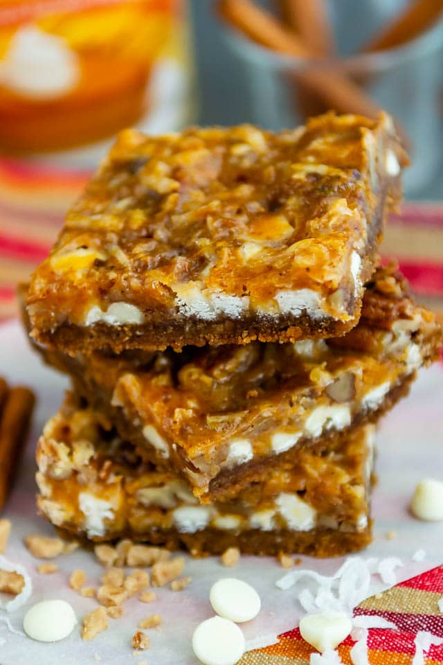 stack of pumpkin 7 layer bars