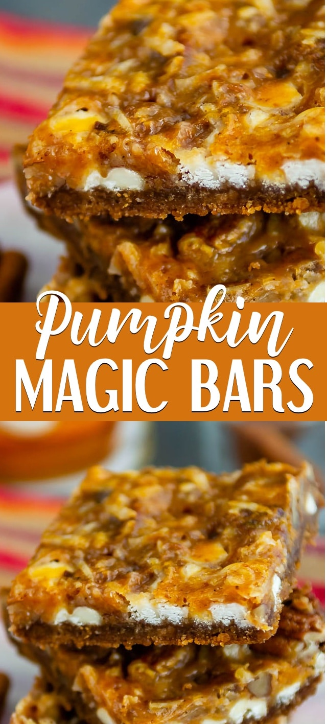 collage of two pumpkin magic bar photos