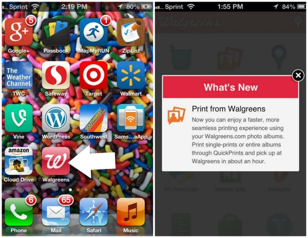 Two screenshots showing the Walgreens app and how to print photos from your app to the store
