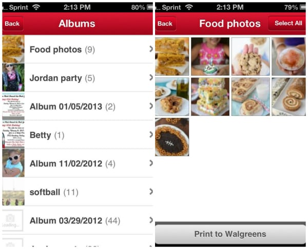 Screenshots showing food photos being selected for upload to Walgreens app for printing